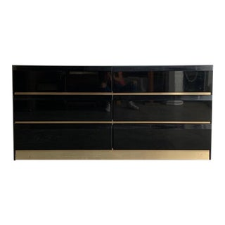 1980s Black and Brass Dresser For Sale