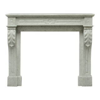 Small White Marble Louis XVI Fireplace, 19th Century