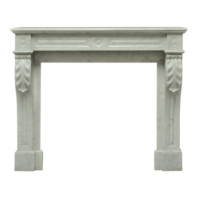 Small White Marble Louis XVI Fireplace, 19th Century For Sale