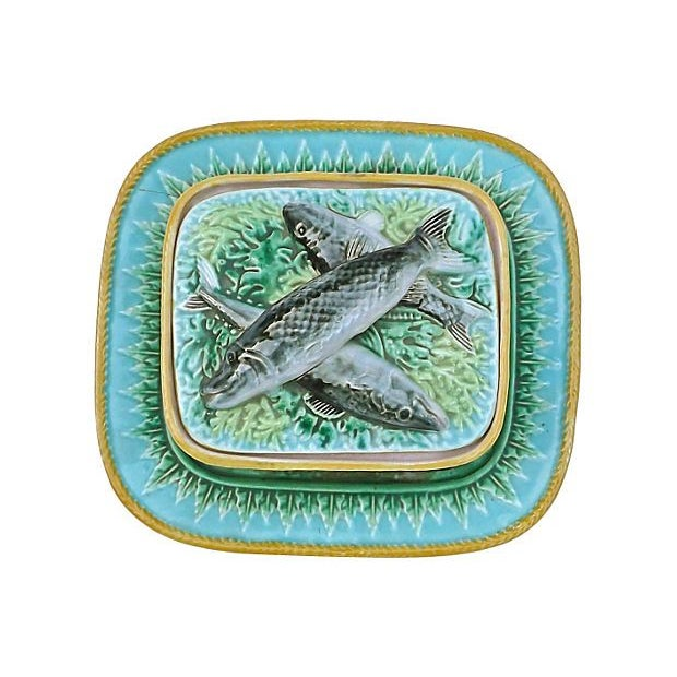 Vintage George Jones Majolica Box & Plate Set - Image 3 of 5