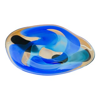 Sasaki Kyoto Swirl Hand-Blown Glass Platter For Sale