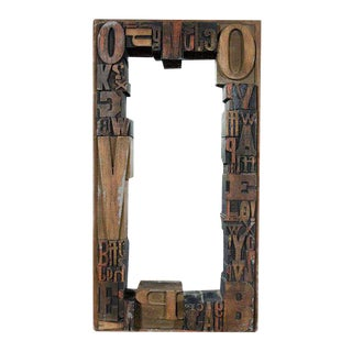 Jo Mead Typography Woodblock Framed Mirror For Sale