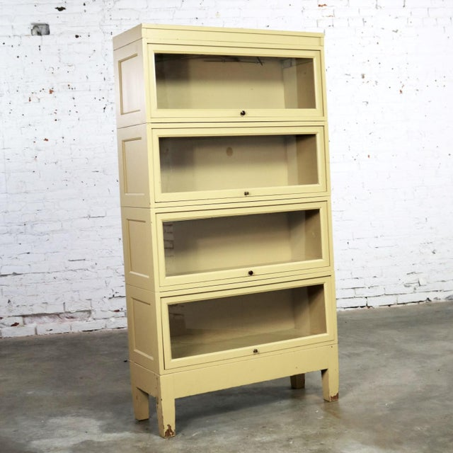Modern Industrial Barrister Stacking Bookcase Globe Wernicke Distressed Yellow Painted Wood For Sale - Image 3 of 13