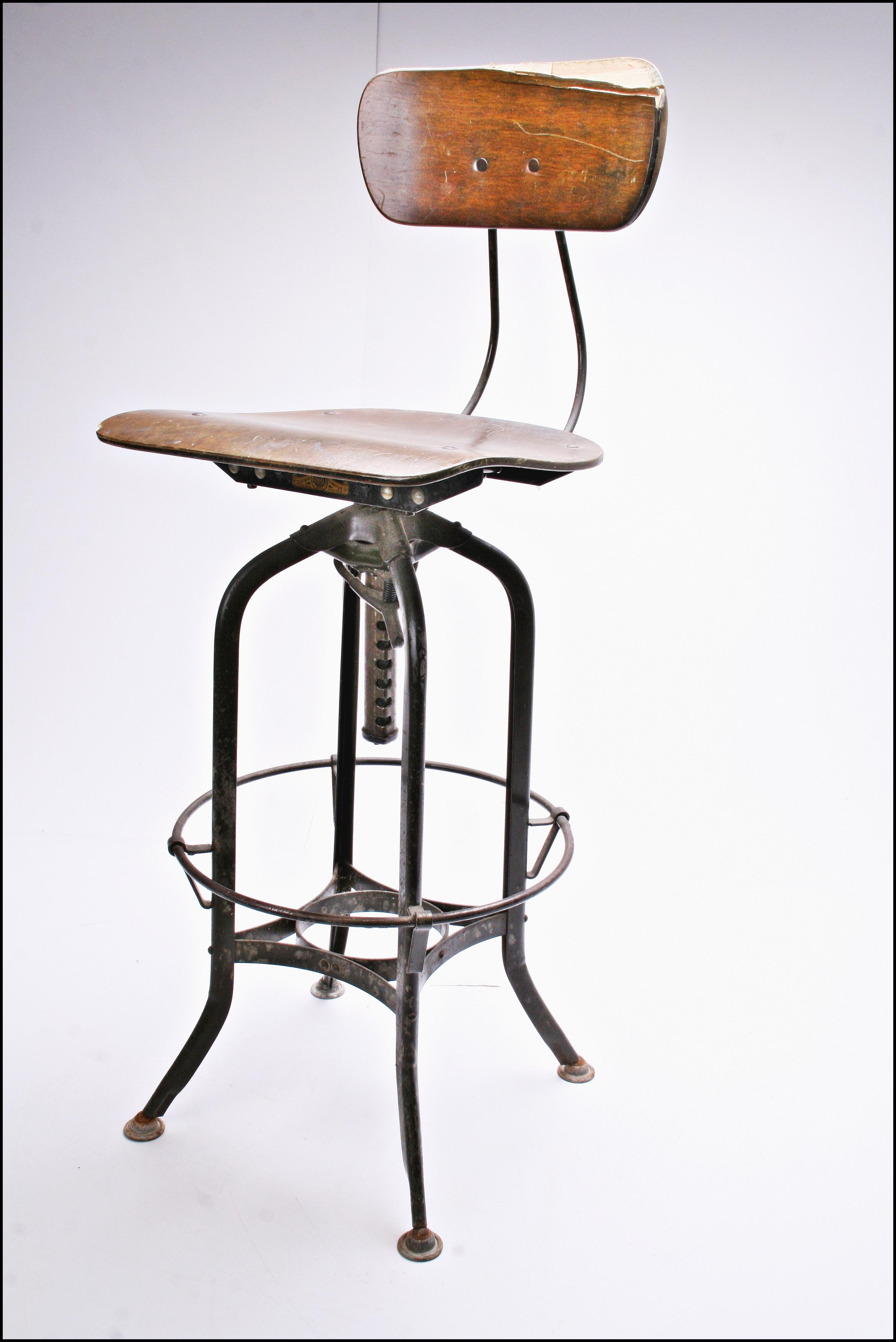 Vintage Industrial Toledo Uhl Drafting Stool Chairish