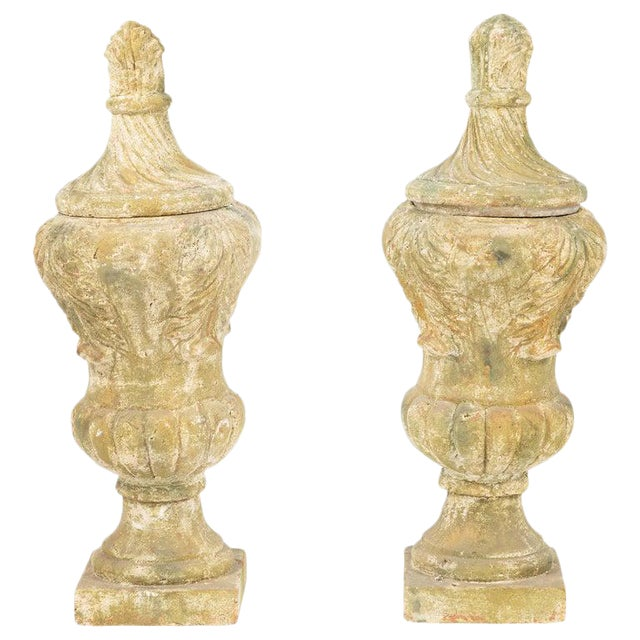 Terracotta Covered Garden Urns - a Pair For Sale