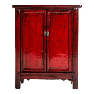 1920s Red Lacquer Chinese Cabinet For Sale