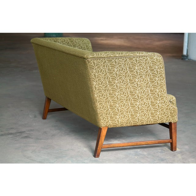 Yellow 1930s Kaare Klint Style Danish Settee in Mahogany Attributed to Georg Kofoed For Sale - Image 8 of 12