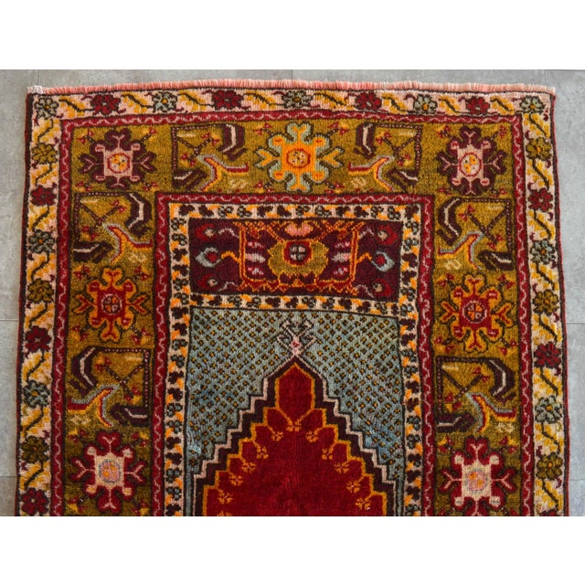 """Textile Antique Turkish Rug Hand Knotted Prayer Rug - 3'4"""" X 5' For Sale - Image 7 of 12"""