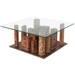 Artist Signed Brutalist Copper and Brass Torch Cut Skyscraper Coffee Table
