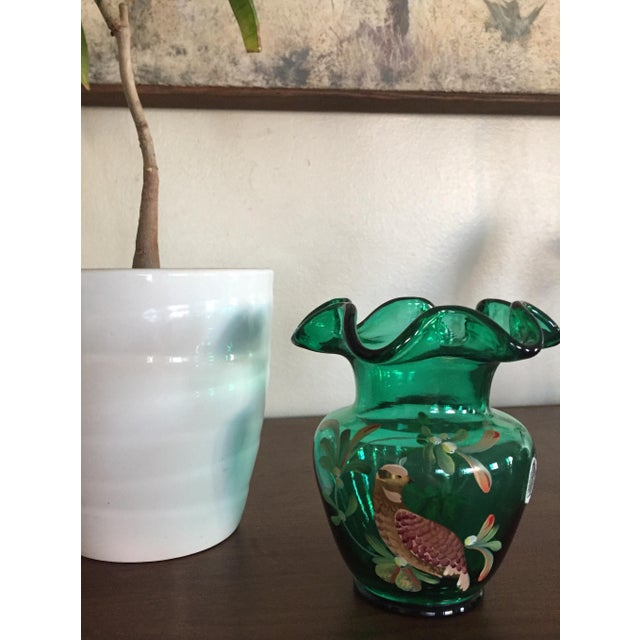 Fenton Emerald Green Glass Hand Painted Vase For Sale - Image 10 of 11