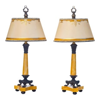 1900's French Empire Sienna Marble and Bronze Candle Lamps - a Pair For Sale