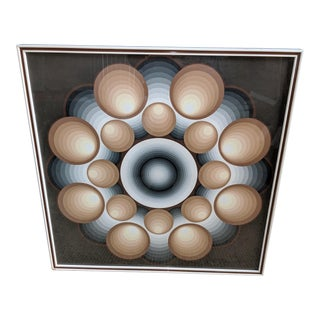 """Mid Century Lev Moross """"Concentric"""" Original Silk Screen Print Signed and Numbered 45/250, Framed For Sale"""