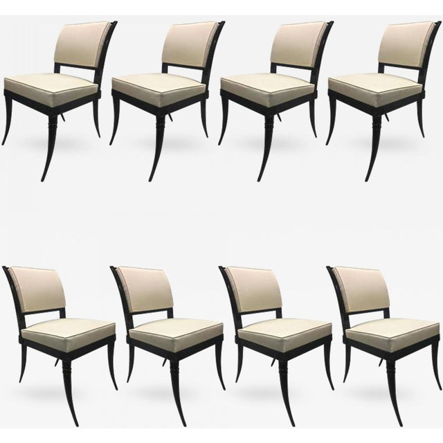 Black Maison Jansen Chicest Black Neoclassic Exceptional Set of Eight Dinning Chairs For Sale - Image 8 of 8