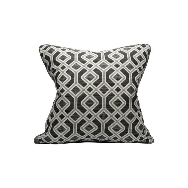 Transitional Scalamandre Oak Bluffs Pillow, Coal For Sale - Image 3 of 3