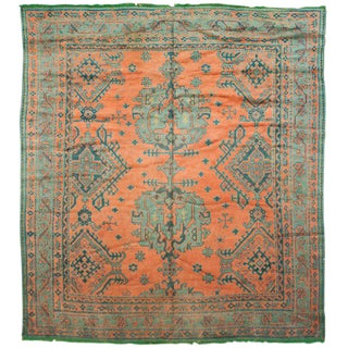 Antique Green & Orange Oushak Rug - 8′11″ × 9′7″