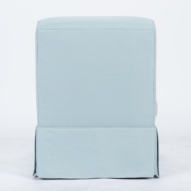 Traditional Skirted Slipper Chair in Porcelain Blue Linen For Sale - Image 3 of 7