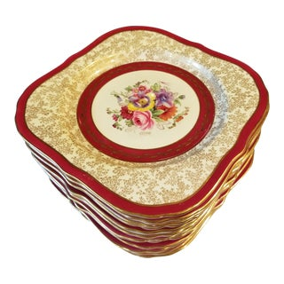 12 Antique Royal Worcester Hand Painted Plates For Sale