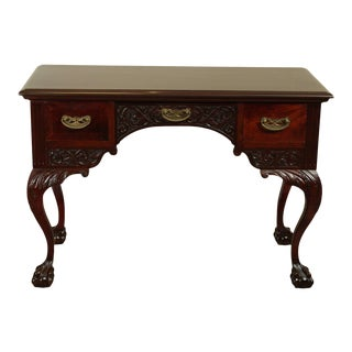 Victorian Era Chippendale Style Antique Carved Ball & Claw Vanity For Sale
