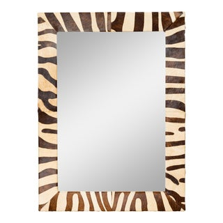 Striped Cowhide Framed Mirror For Sale