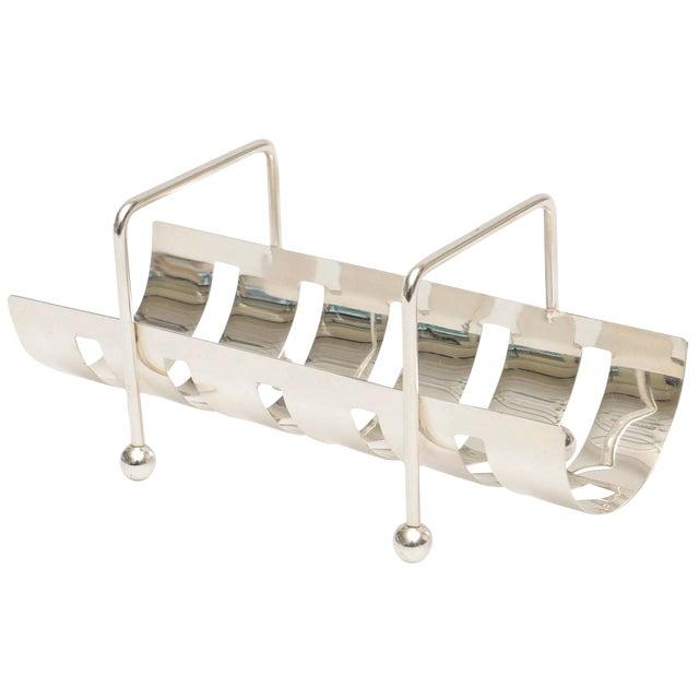Italian Modernist Silver Plate Baguette Holder For Sale