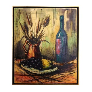 Vintage Wood Framed Food & Wine Oil Painting on Canvas by Marino