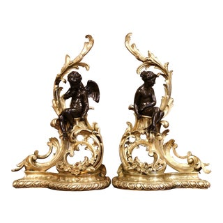Pair of 19th Century French Louis XV Two-Tone Bronze Andirons With Figures For Sale