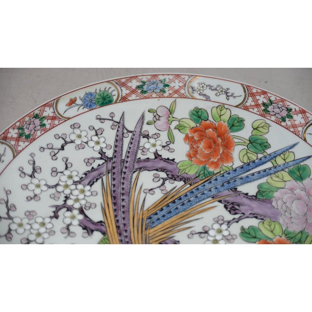 Asian Antique Chinese Porcelain Hand Painted Platter W/ Peacocks For Sale - Image 3 of 8