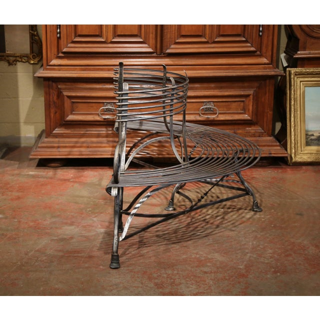 French Polished Iron Curved Around the Tree Shaped Garden Bench Signed Sauveur For Sale - Image 9 of 10