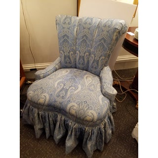 Vintage Channel Back Slipper Chair Newly Upholstered in Ralph Lauren Blue Paisley Printed Linen Preview