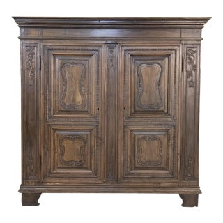 Antique Country French Walnut Armoire ~ Very Shallow! For Sale