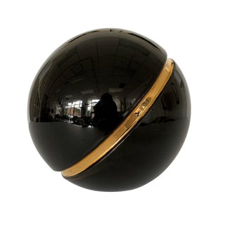Jaru Black and Gold Ceramic Sphere Sculpture For Sale