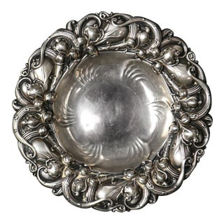 Antique Gorham Sterling Silver Leaf and Vine Repousse Nut Bowl, circa 1890 For Sale