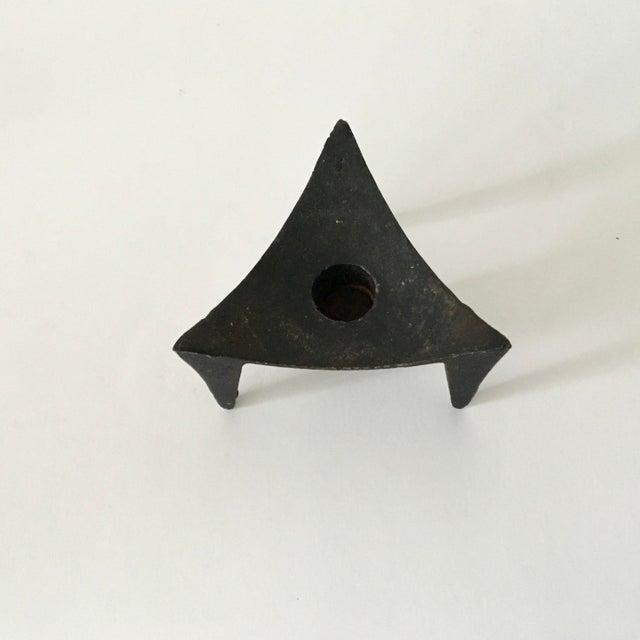 Modern Pair of Vintage Mid-Century Black Iron Candleholders, Dansk Denmark, Japan For Sale - Image 3 of 7