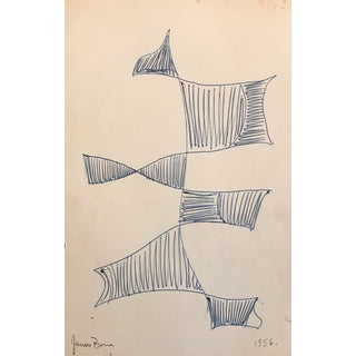 1956 Mid-Century Modern Abstract Atomic Design Drawing For Sale