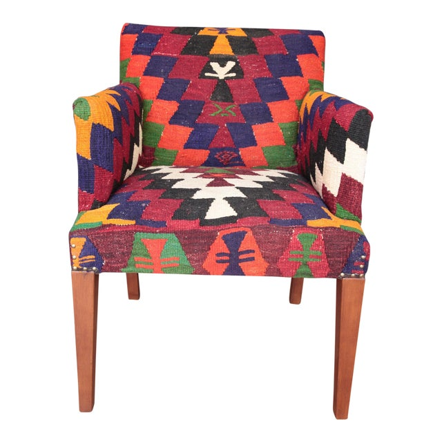 Kilim Upholstered Armchair For Sale