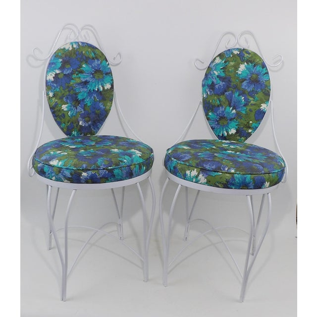 Mid-Century Modern Wrought Iron Patio Chairs - A Pair - Image 8 of 10