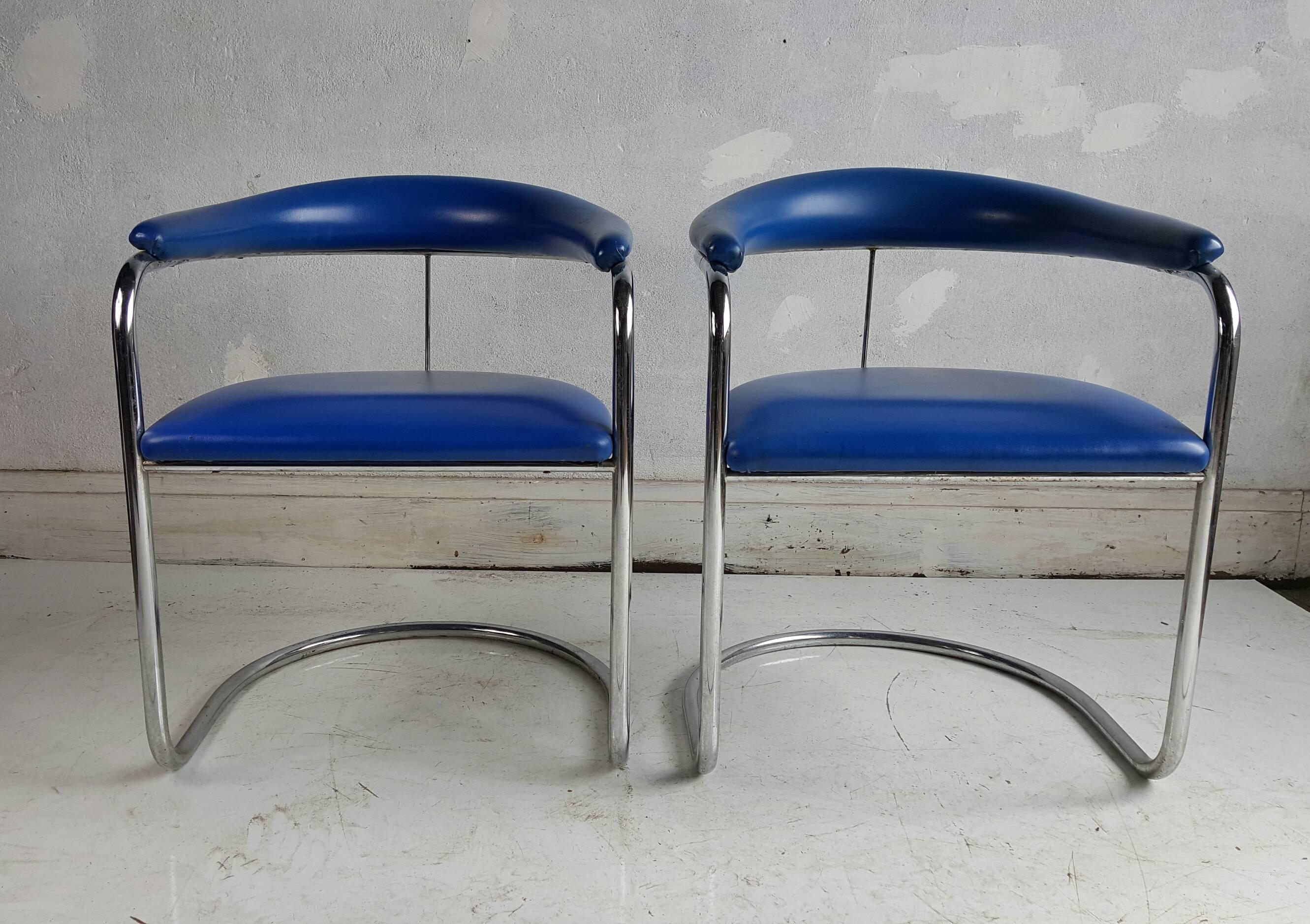 Pair Of Anton Lorenz Chairs For Thonet Model SS33. Original Electric Blue  Naugahyde Upholstery,