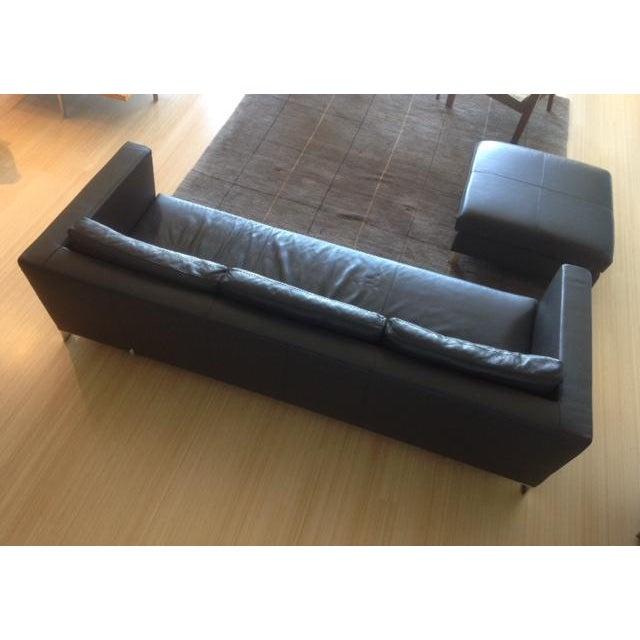 Verdesign Dark Grey Leather Modern Sofa & Ottoman - Image 4 of 11