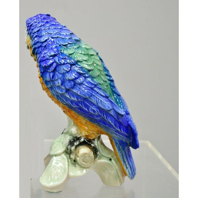 Late 20th Century Vintage with Goebel Porcelain Blue Green Macaw Parrot Bird Figurine For Sale - Image 5 of 11