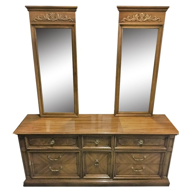 Vintage Thomasville Dresser with Wall Mirrors - Image 1 of 9
