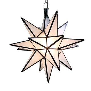Frosted White Star Lantern Large For Sale