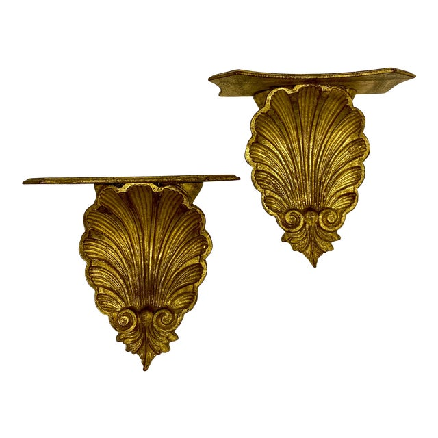Pair of Large Scale Carved Giltwood Shell Wall Brackets For Sale