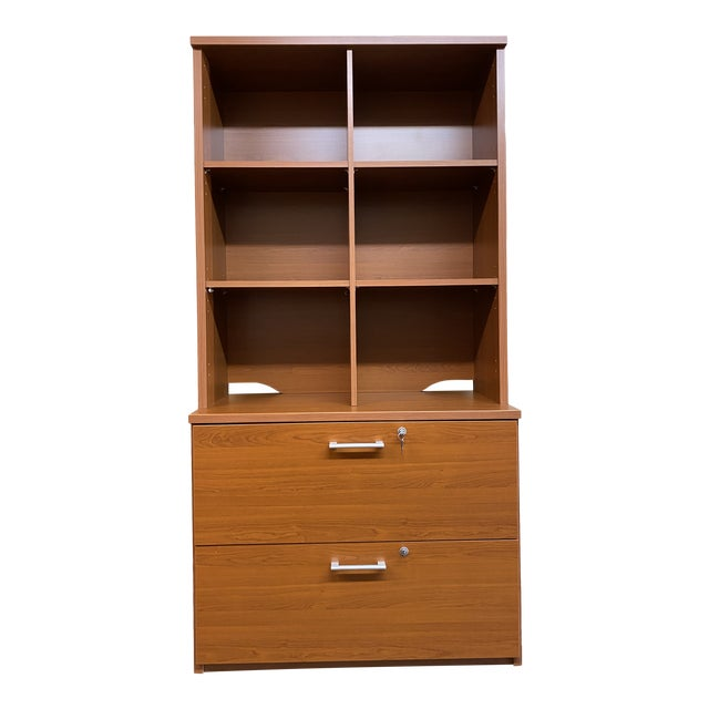 L. P. Danish Office Adjustable Bookshelf + Double Filing Cabinet For Sale