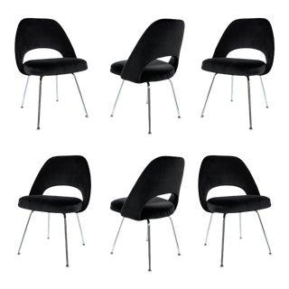 Saarinen Executive Armless Chairs in Noir Velvet - Set of 6