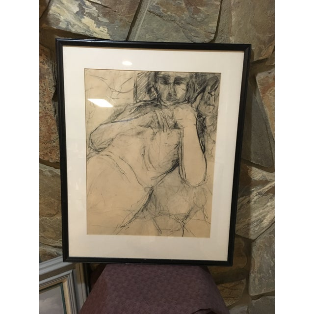 Vintage charcoal drawing of male. Maybe considered nude. Original piece signed by artist Haberman dated 1963.