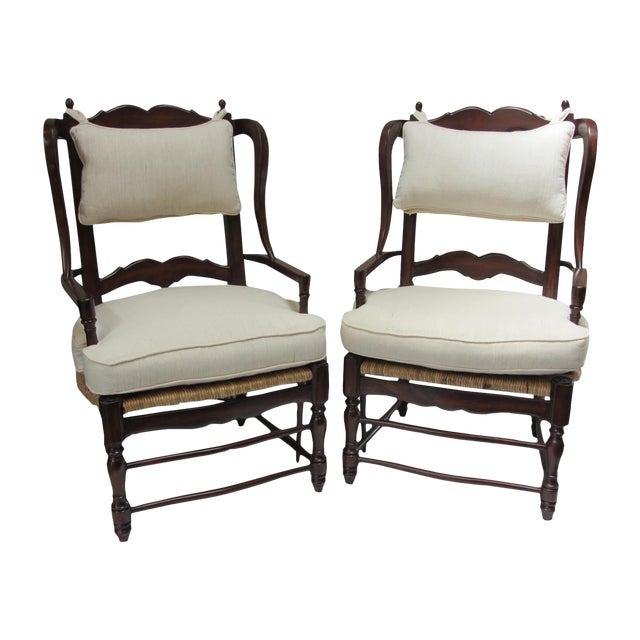 Large Ladder Back Wing Chairs - Pair - Image 1 of 7