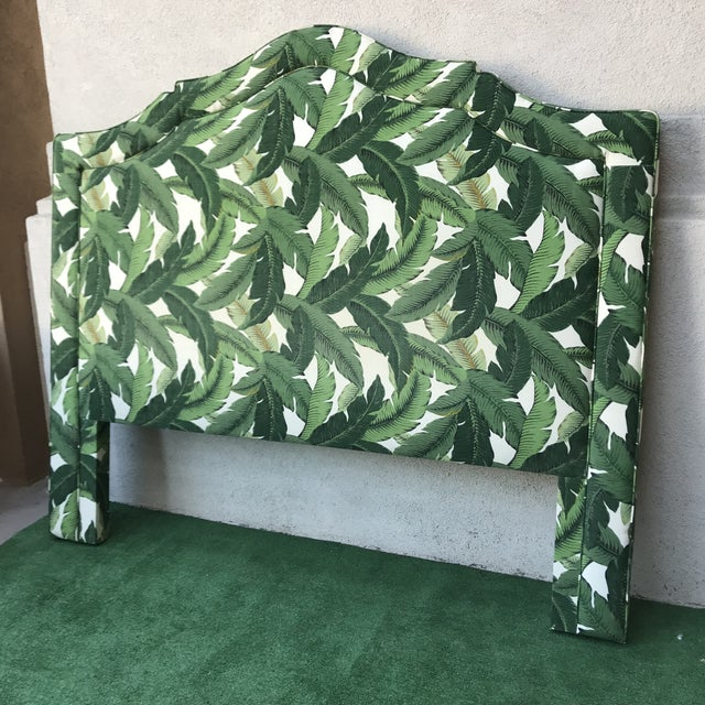 2010s Boho Chic Custom Upholstered King Banana Leaf Headboard For Sale - Image 5 of 8