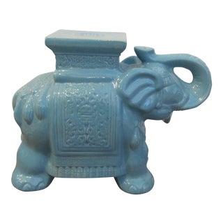 Modern Contemporary Ceramic Turquoise Elephant Garden Stool For Sale