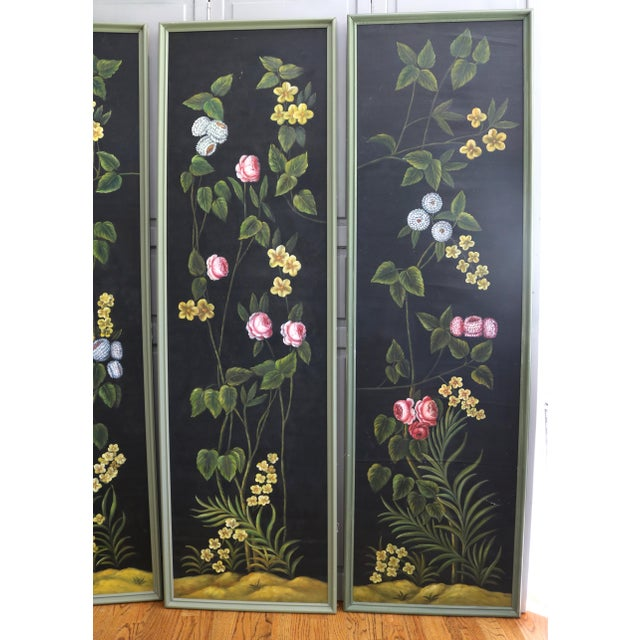 Art Deco Hand Painted Screen Panels Oil on Canvas Floral Still Life - Set of 3 For Sale - Image 3 of 8