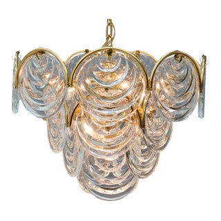 Brass and Glass Chandelier, 1960s For Sale